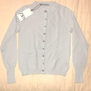 NWT Zara icy blue cardigan w/ embellished buttons